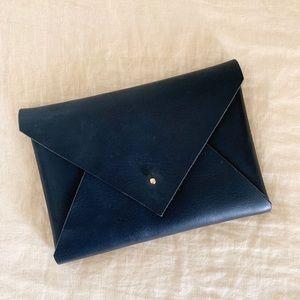 Genuine leather handmade black clutch